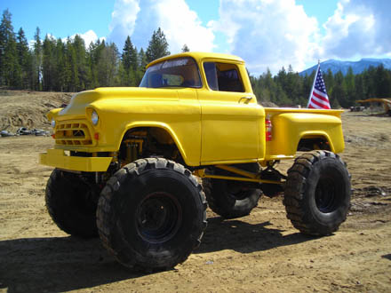 Vintage little CHEVY pickup truck...lifted just a tiny bit!