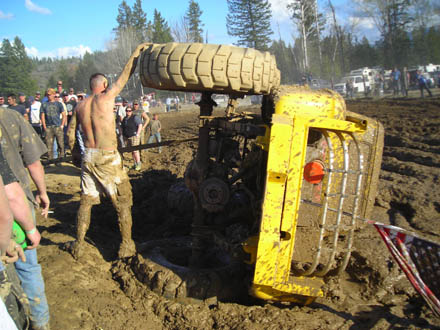 Yellow Chevy flipped in the mud!  Moyie Springs Mud Bog, COOL RIDES CAR SHOW.com